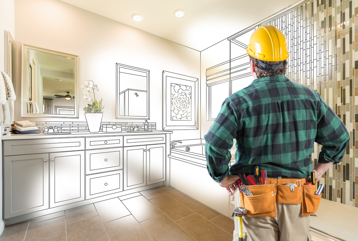 Contractor Facing Custom Master Bathroom Drawing and Photo Gradation